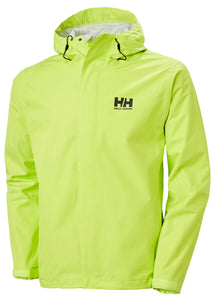 Helly Hansen Men's Seven J Rain Jacket in Azid Lime from the front
