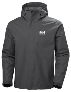 Helly Hansen Men's Seven J Rain Jacket in Charcoal from the front