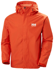 Helly Hansen Men's Seven J Rain Jacket in Patrol Orange from the front