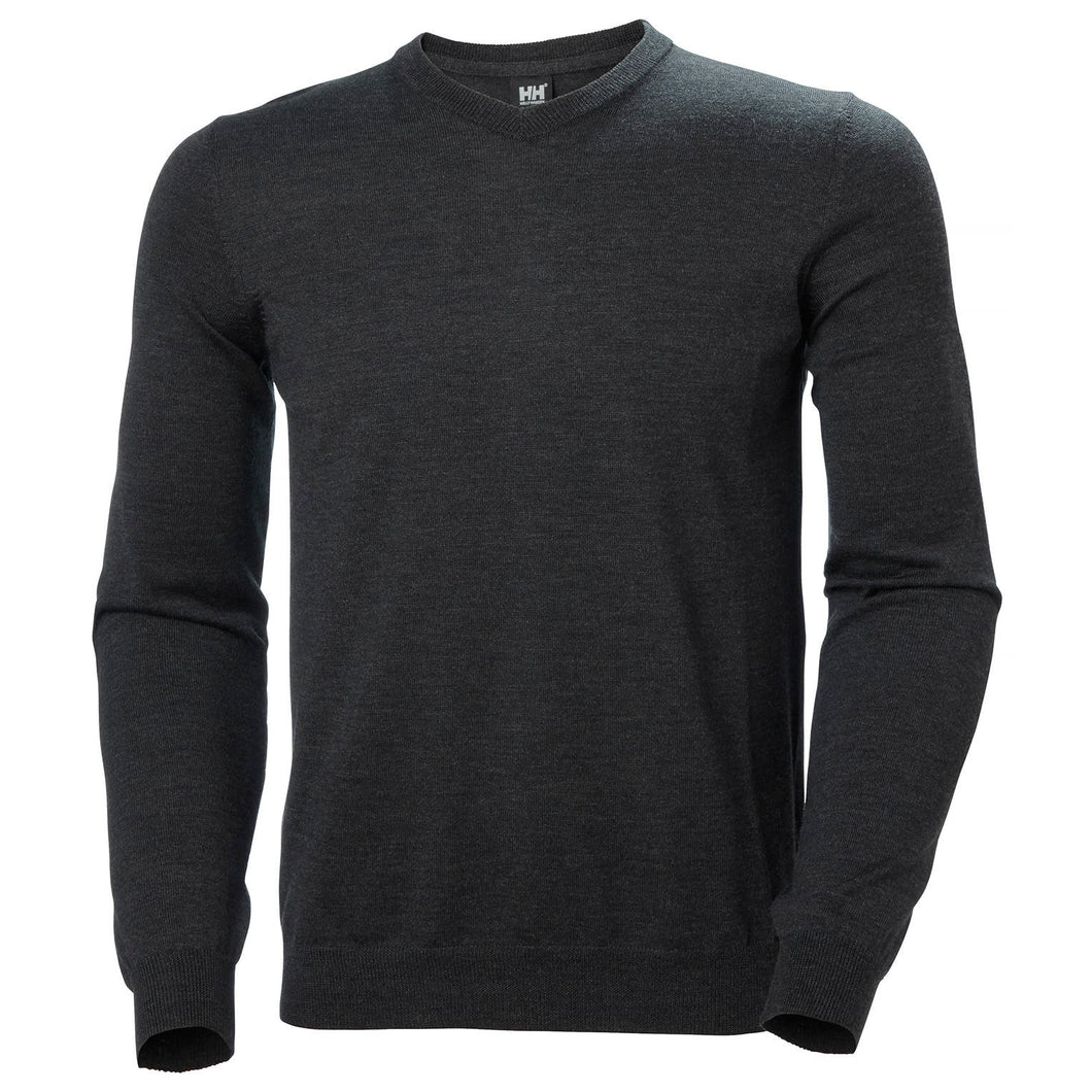 Helly Hansen Men's Skagen Merino Sweater in Ebony Melange from the front