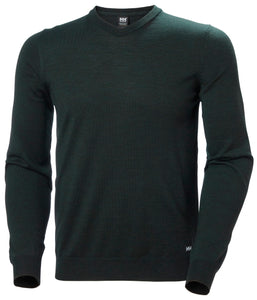 Helly Hansen Men's Skagen Merino Sweater in Scarab Green from the front