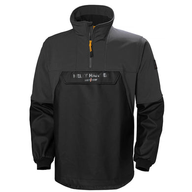 Helly Hansen Men's Storm Hybrid Anorak Rain Jacket in Black from the front