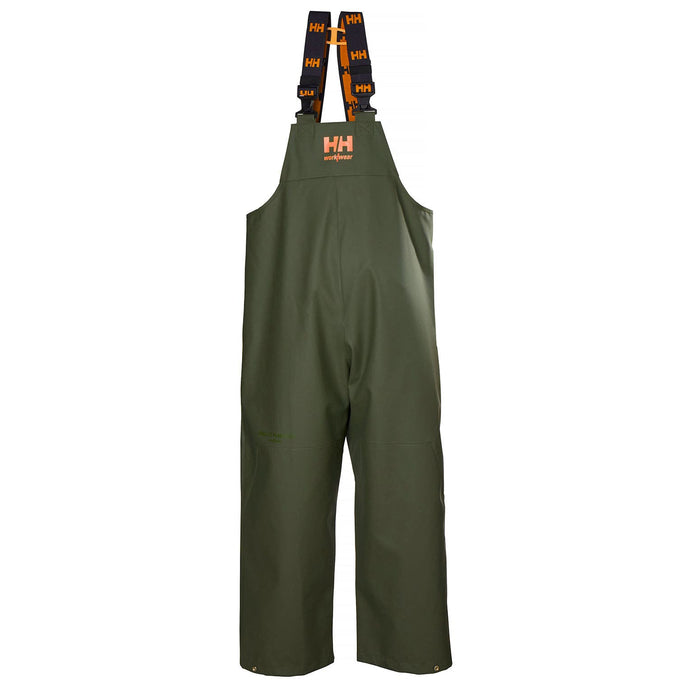 Helly Hansen Men's Storm Rain Bib in Army Green from the front