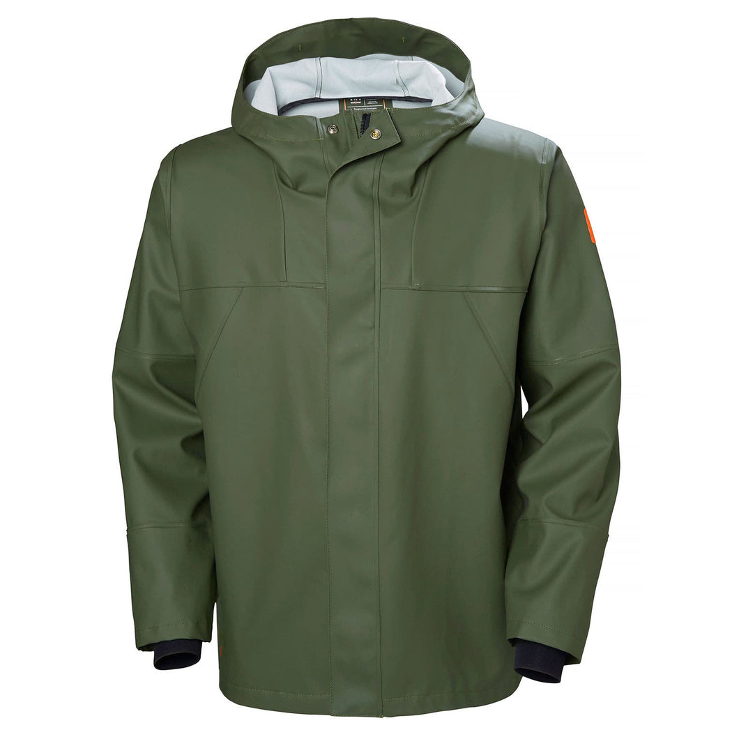 Helly Hansen Men's Storm Rain Jacket in Army Green from the front