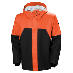 Helly Hansen Men's Storm Rain Jacket in Dark Orange/Black from the front
