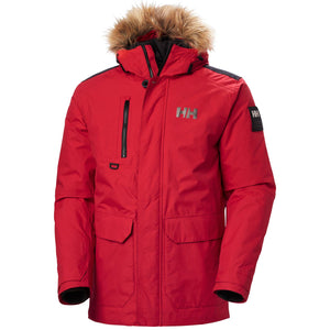Helly Hansen Men's Svalbard Parka Jacket in Red from the front