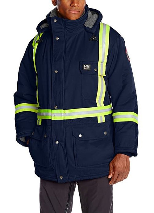 Helly Hansen Men's Weyburn Parka CSA Striping Insulated Jacket in Navy from the front