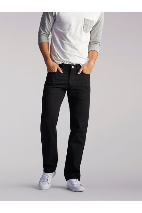 Big and Tall Regular Fit Straight Leg Jean in Double Black from Front View
