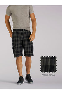 Big and Tall Wyoming Cargo Short in Black Clifton Plaid from Front View
