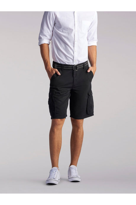 Big and Tall Wyoming Cargo Short in Black from Front View