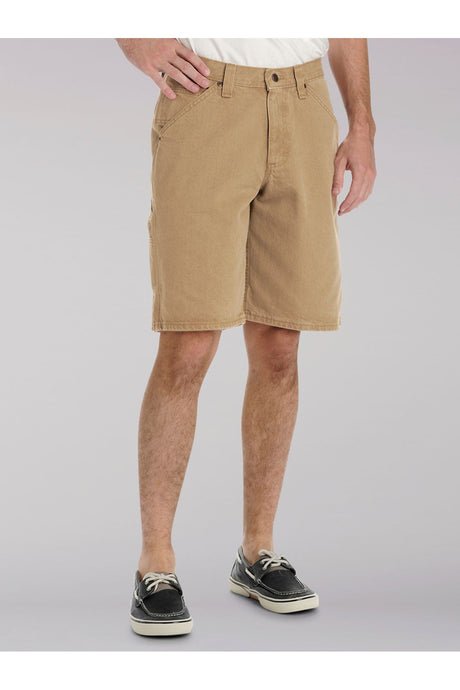 Carpenter Short in Khaki Canvas from Front View