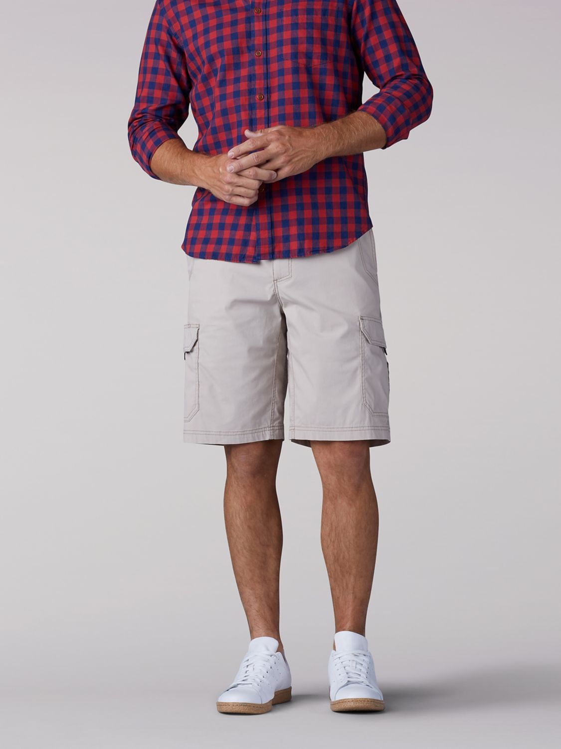 Extreme Motion Crossroad Cargo Short in Stone from Front View