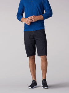 Extreme Motion Swope Cargo Short in Black from Front View