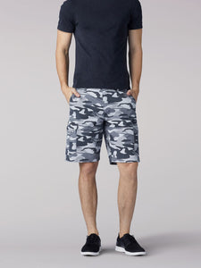 Extreme Motion Swope Cargo Short in Graphite Camo from Front View