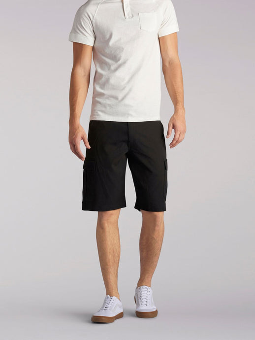 Performance Cargo Short in Black from Front View