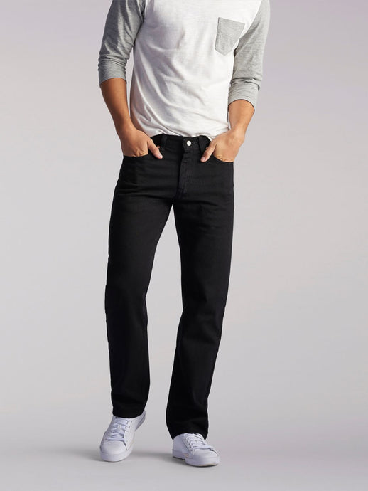 Regular Fit Straight Leg Heavyweight Jean in Double Black from Front View