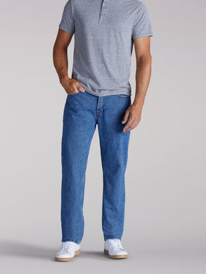 Relaxed Fit Straight Leg Jean in Pepper Stone from Front View