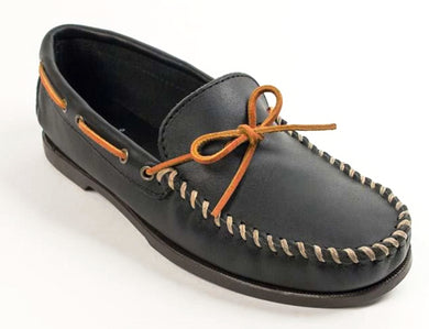 Classic Camp Moccasin in Black from 3/4 Angle View