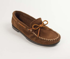 Classic Camp Moccasin in Dusty Brown from 3/4 Angle View