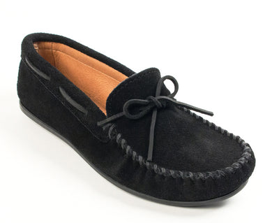 Classic Moccasin in Black from 3/4 Angle View
