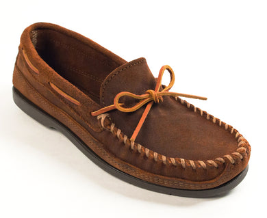 Double Bottom Hardsole Moccasin in Brown Ruff from 3/4 Angle View