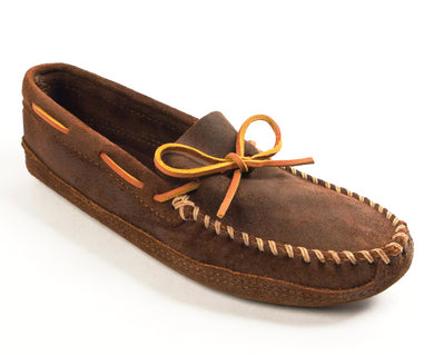 Double Bottom Softsole Moccasin in Brown Ruff from 3/4 Angle View