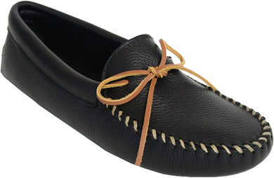 Double Deerskin Softsole Moccasin in Black from 3/4 Angle View