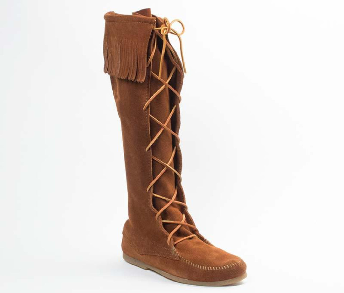 Front Lace Knee High Boot in Brown from 3/4 Angle View