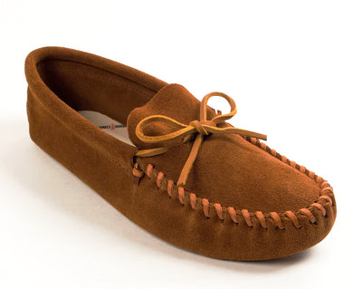 Leather Laced Softsole Moccasin in Brown from 3/4 Angle View