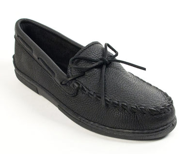 Moosehide Classic Moccasin in Black from 3/4 Angle View