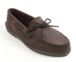 Moosehide Classic Moccasin in Chocolate from 3/4 Angle View