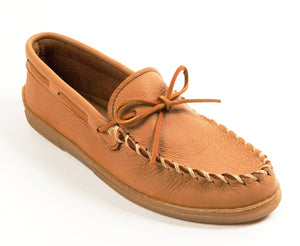 Moosehide Classic Moccasin in Natural from 3/4 Angle View