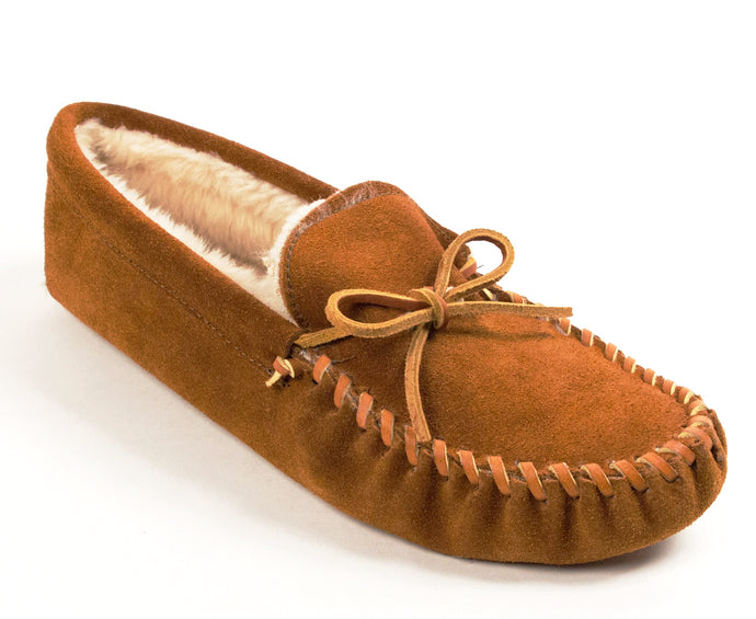 Pile Lined Softsole Slipper in Brown from 3/4 Angle View