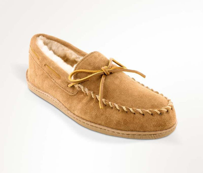 Sheepskin Hardsole Moccasin Slipper in Tan from 3/4 Angle View
