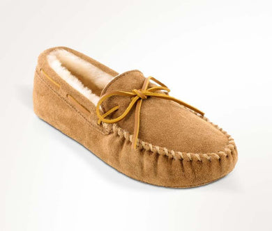 Sheepskin Softsole Moccasin in Tan from 3/4 Angle View