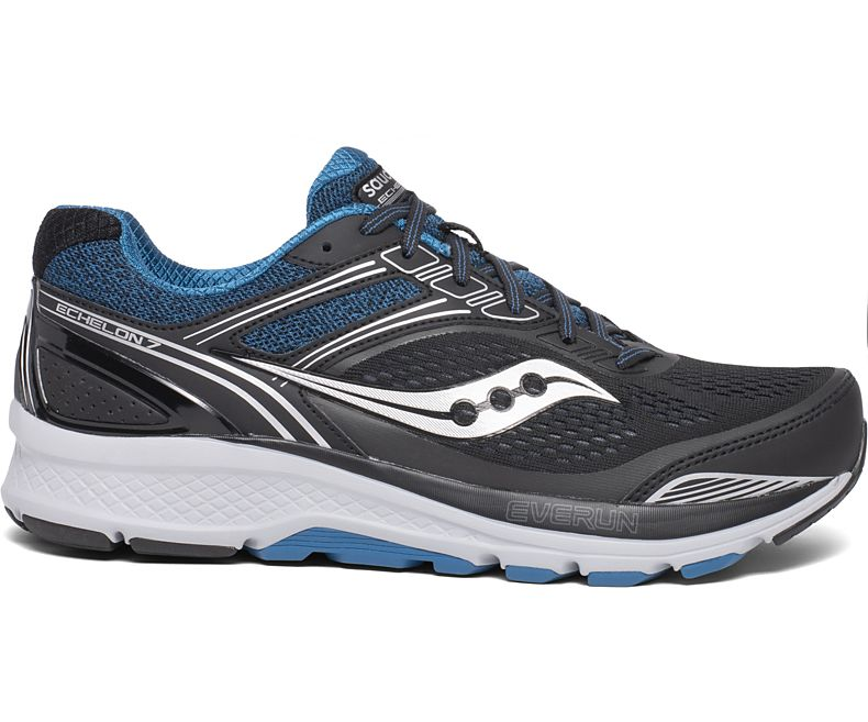 Saucony Men's Echelon 7 Running Shoe in Black/Blue from the side