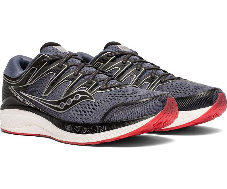Saucony Men's Hurricane ISO 5 Running Shoe in Grey/Black from the side