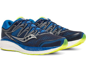 Saucony Men's Hurricane ISO 5 Running Shoe in Navy /Citron from the side