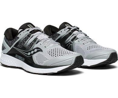 Saucony Men's Omni ISO Running Shoe in Grey/Black from the side