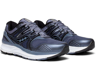 Saucony Men's Redeemer ISO 2 Running Shoe in Grey/Black from the side