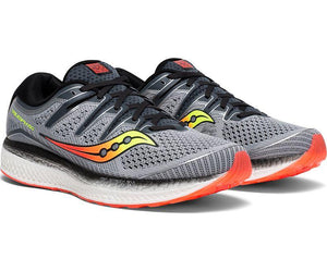 Saucony Men's Triumph ISO 5 Running Shoe in Grey/Black from the side