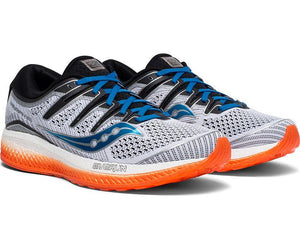 Saucony Men's Triumph ISO 5 Running Shoe in White/Black/Orange from the side