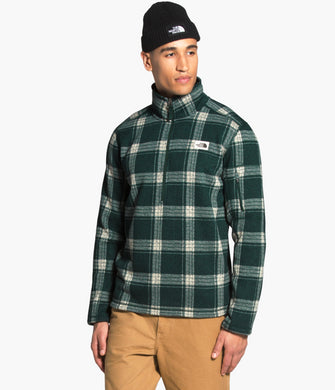 Men's The North Face Gordon Lyons Novelty One Fourth Zip Fleece Jacket  in Scarab Green Heritage 3 Plaid