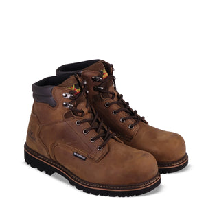 "Thorogood 804-3236 Men's V-Series 6"" Waterproof Semi-oblique Composite Toe Work Boot in Brown Crazyhorse from the side"