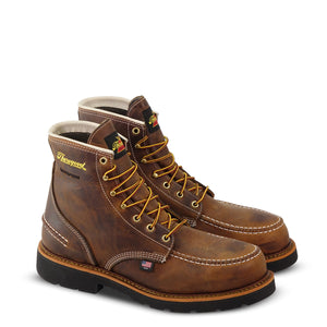 "Thorogood 804-3696 Men's 1957 Series 6"" Moc Toe MAXWear 90™ Waterproof Steel Safety Toe Work Boot in Crazyhorse from the side"