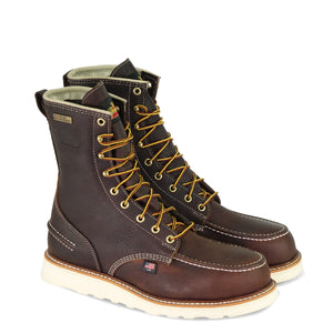 "Thorogood 804-3800 Men's 1957 Series 8"" Moc Toe MAXWear Wedge™ Waterproof Safety Toe Work Boot in Briar Pitstop from the side"