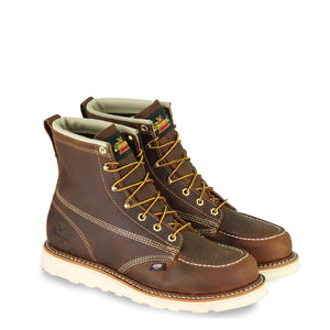 "Thorogood 814-4203 Men's American Heritage 6"" Brown Moc Toe MAXWear Wedge™ Non-Safety Toe Work Boot in Trail Crazyhorse from the side"