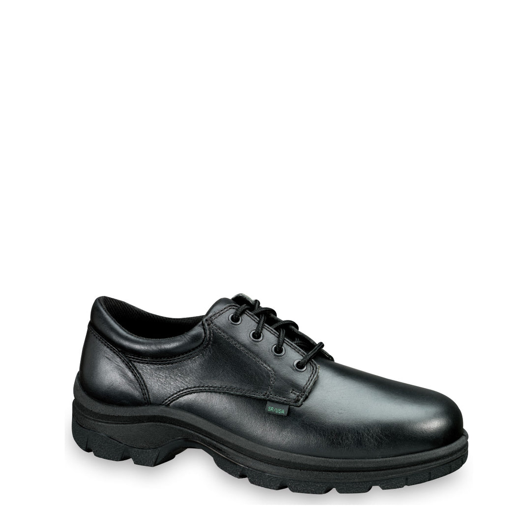 Thorogood 834-6905 Men's Plain Toe Oxford Uniform Shoe in Black from the side