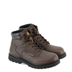 "Thorogood 864-4278 Men's V-Series 6"" Waterproof Hunting Boot in Brown Crazyhorse from the side"