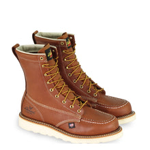 "Load image into Gallery viewer, Thorogood Men's American Heritage 8"" Moc Toe MAXWear Wedge™ Steel Safety Toe Work Boot in Tobacco from the side"